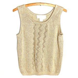 Sz M Gold & Cream Sleeveless Sweater Top - Maurada